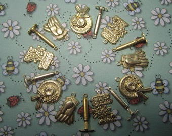 Garden Charms Bracelet Supplies Brass Findings on Etsy Set #2