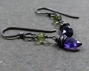 Purple Amethyst Earrings Peridot Oxidized Sterling Silver February, August Birthstone Earrings Gift for Her