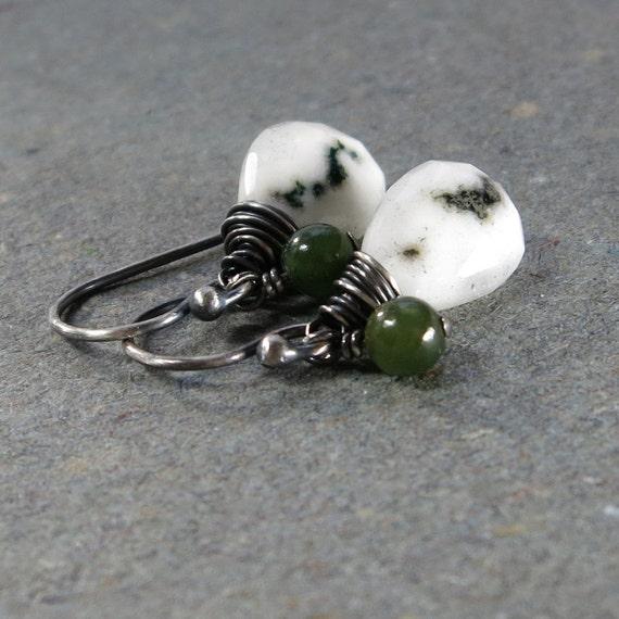 Solar Quartz Earrings Green Jade Earrings Oxidized Sterling Silver Earrings