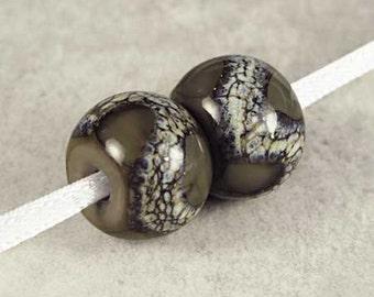 Gray Handmade Lampwork Glass Bead Pair,  Lampwork Beads, Glass Lampwork, Handmade Lampwork, 2 Glossy 14x11mm Dark Gray