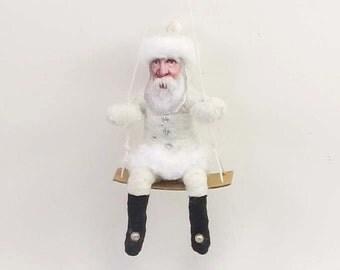 Vintage Inspired Spun Cotton Santa On Swing Ornament