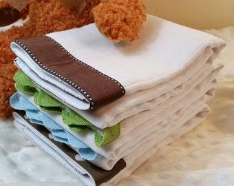 PETER RABBIT, Burp Cloth Bundle, newborn gift set, 4 coordinating cloths in blue, green and brown