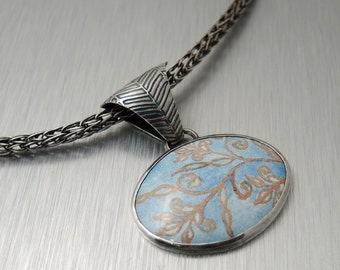 Blue Enamel Pendant - Blue and Brown Flower - Handmade Viking Knit Chain - Sterling Silver