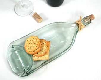 Large Molded Light Blue Grey Frosted Wine Bottle Serving Tray or Spoon Rest with Cork and Raffia - Recycled Eco-Friendly