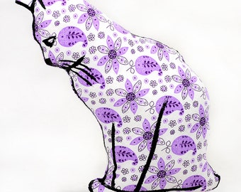 decorative pillow, cat pillow, animal pillow, cat profile shaped medium pillow kitty shaped purple floral paisley fabric