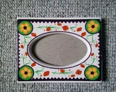 Home Decor Ceramic Festive Folk Art Poppies Picture Frame