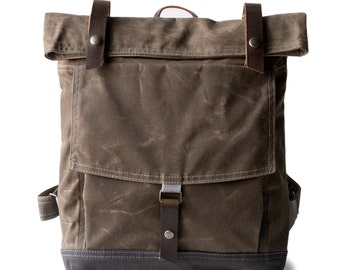 The Backpack in Brown waxed canvas