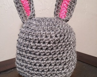 Infant Newborn Baby Easter Bunny Ears Hat Photo prop Pink and Gray Grey beanie