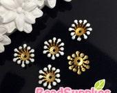 FG-EX-08003W- Nickel Free, Raw Brass, Flower bud beadcap, white, 12pcs