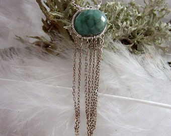 Faceted Natural Emerald rondelle, sterling silver coil wrap with chain dangles, necklace