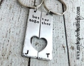 personalized keychain - Couples keychain-his her-better together-keychain set-engagement keychain-bridal-mother daughter-best friends
