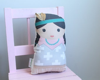 Doll Indian Native American child toddler plush toy room decor modern hipster unique cute first birthday gift pillow by PETUNIA