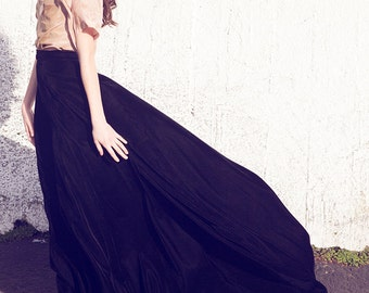 Midnight Dramatic Long Black Velvet skirt