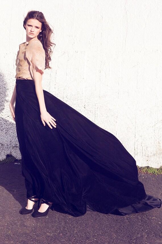 Midnight Dramatic Long Black Velvet skirt