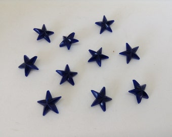 50 Plastic Vintage Blue Star Buttons
