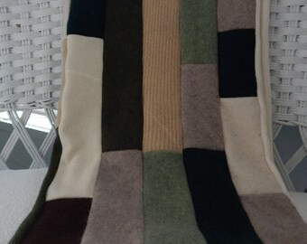 Recycled Cashmere Baby Blanket - Green, Brown and Cream