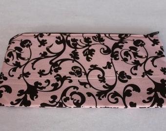 Pencil Case Cosmetic Bag Gadget Case Zipper Pouch Pink Brown