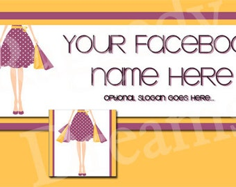 Lady Shopping Bags Orange and Purple Facebook Timeline Cover and Profile Photo