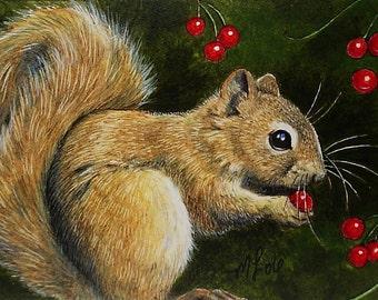 Fall Squirrel Miniature Art by Melody Lea Lamb ACEO Print #376
