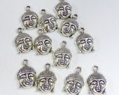 Buddha Charms - Silver Tone, 12 Pieces, Jewelry Charms, Earrings, Necklace Charms
