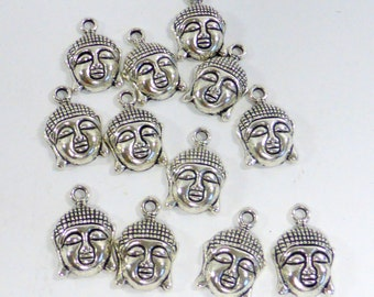 Buddha Charms  Silver Tone, 12 Pieces, Jewelry Charms, Earrings,Necklace Zen Meditation Mala Yoga Mantra