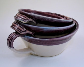 Set of Three Purple and White Nesting Batter Bowls with Handles Stoneware Pottery