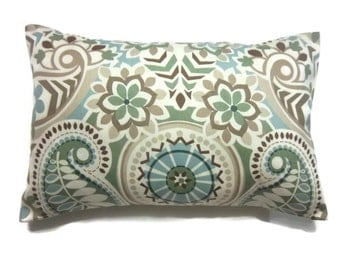 Decorative Pillow Cover Sage Green Blue Taupe Brown Lumbar Throw Toss Accent Paisley Damask Same Fabric Front/Back  12x18 inch x