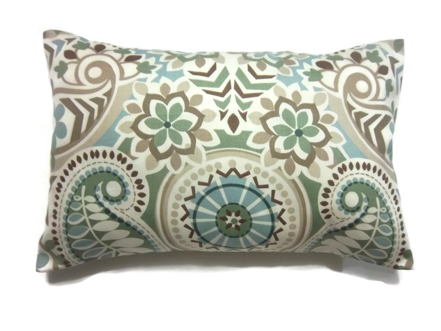 Decorative Pillow Cover Sage Green Blue Taupe Brown Lumbar