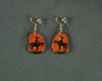 Antler Earrings Cowboy Sunset-Hand Painted