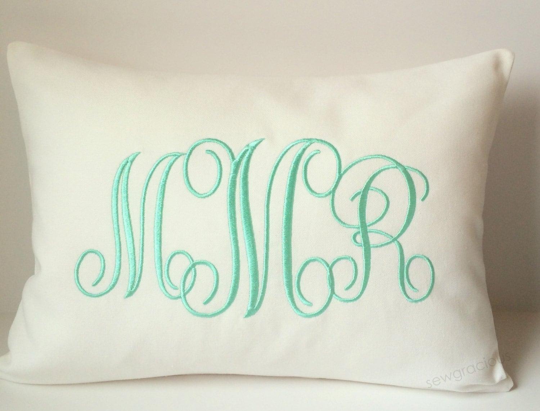 Decorative Pillow Cover 12x16 : Monogram Pillow Cover. 12x16 Baby Pillow. Nursery Decor.