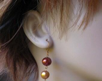 Uptown Triple Pearl Dangle Earrings