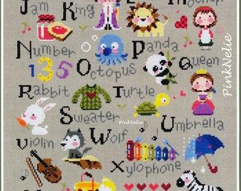 Alphabet Learning - G39 - Counted Cross Stitch Original Design Pattern Chart
