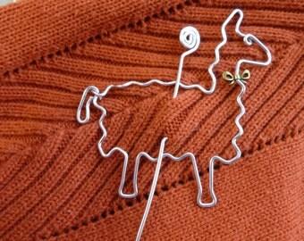 LLAMA SHAWL PIN with bow  wirework alpaca shawl pin