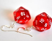 D20 Twenty Sided Dice Earrings - Red Translucent with White Numbers - Geeky Gamer Jewelry