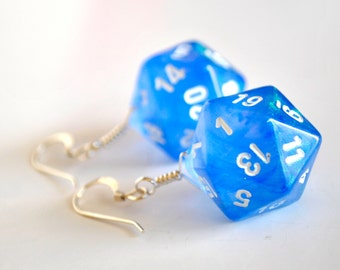 D20 Twenty Sided Dice Earrings - Sparkle Blue with White Numbers - Geeky Gamer Jewelry