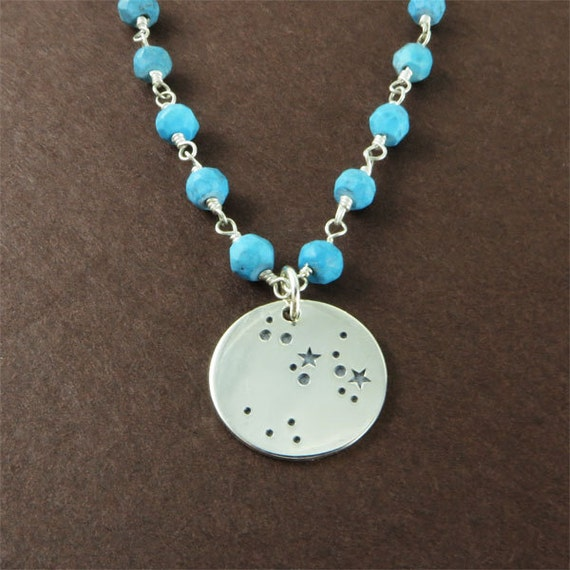 Birthday Gift Zodiac Constellation Necklace Personalized Silver Charm with Blue Turquoise Gemstone Jewelry Gift
