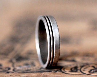 Mens silver ring, flat wedding band, modern wedding ring, modern silver ring , unisex ring, mens wedding band, custom made