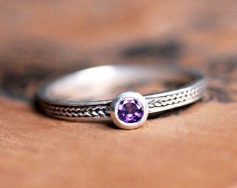 Amethyst stacking ring, stacking rings personalized, silver amethyst ring, February birthstone ring braided silver ring amathyst ring custom