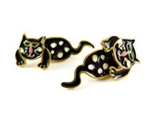Vintage Gold Plated Enamel Cat Two Part Stud Earrings - Black and White - 1 pair (J519)