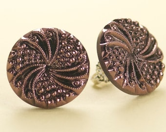 Vintage Black with Pink Copper Czech Glass Post Earrings - Limited
