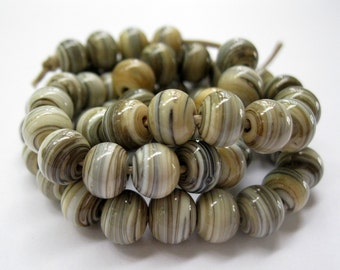Handmade Striated Silvered Ivory Lampwork Spacer Beads SRA