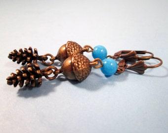 Gemstone Earrings, Brass Pine Cone and Acorn Earrings, Long Dangle Earrings, FREE Shipping U.S.