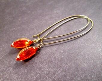 Rhinestone Earrings, Hyacinth Red Orange Glass Navettes, Long Gold Dangle Earrings, FREE Shipping U.S.