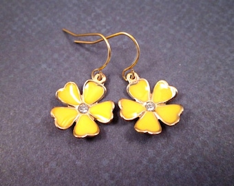 Flower Drop Earrings, Yellow Lacquered and Gold Dangle Earrings, FREE Shipping U.S.