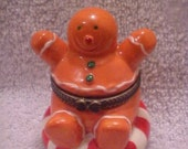 Ceramic Gingerbread Man Box - Peppermint - Candy - Perfect Condition - Collectible!
