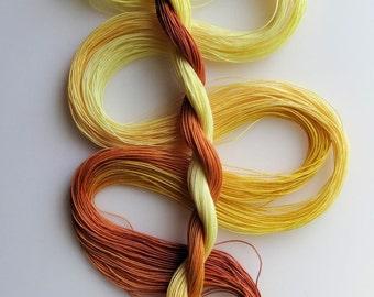 "Size 50 ""Gold Dust"" hand dyed thread 6 cord cordonnet tatting crochet cotton"
