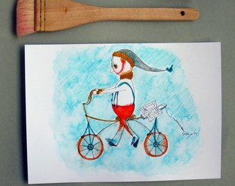ooak watercolor painting wall decor Original Illustration Nursery Art wall Art illustration watercolor paintings-My first bicycle