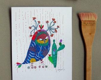 ooak watercolour original painting wall decor Illustration Nursery Art wall Art Nursery Art, wall Art-Owl in love