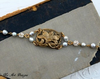 Vintage Brass Finding, Baroque Pear and Rhinestone One of a Kind Bracelet..Feisty 02