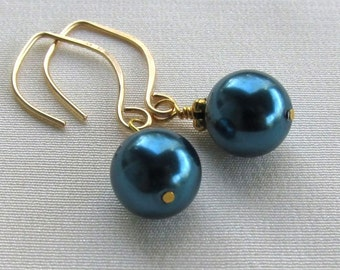 Gold Filled Teal Pearl Earrings, Handmade Elfin Earwires, Wire Wrapped Glass Pearl Drops... Classic Jewelry Gift for Her